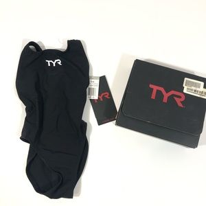 TYR Aero Black Youth Swimming Suit NWT